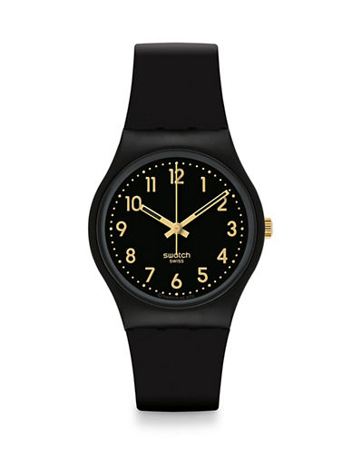 Swatch Analog Goldtone Accent Silicone Watch-BLACK-One Size