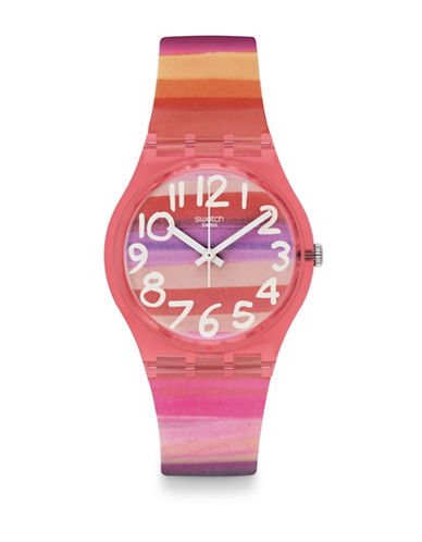 Swatch Astilbe Plastic Strap Watch-MULTI-One Size