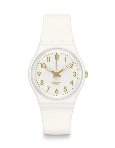 Swatch Analog Goldtone Accent Silicone Watch-WHITE-One Size