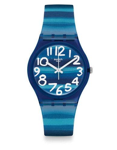 Swatch Linajola Plastic Strap Watch-BLUE-One Size