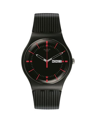 Swatch Gaet Silicone Strap Watch-BLACK-One Size