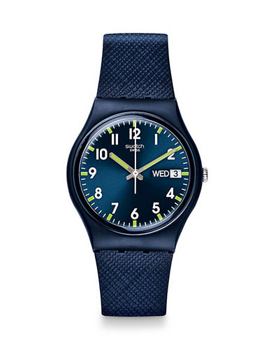 Swatch Analog Silicone Watch-BLUE-One Size