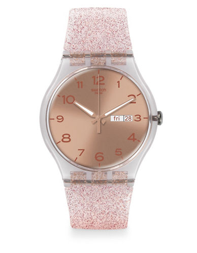 Swatch Pink Glistar Silicone Strap Watch-PINK-One Size