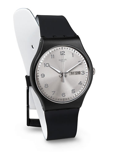 Swatch Silver Friend Silicone Strap Watch-BLACK-One Size