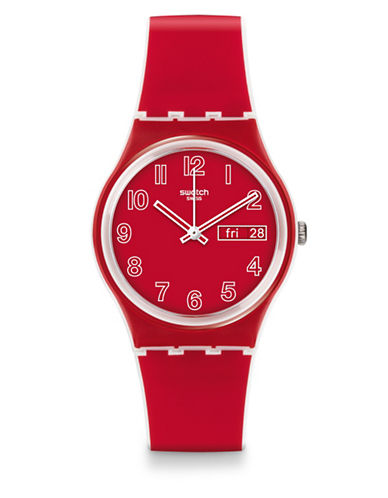 Swatch Poppy Field Silicone Strap Watch-RED-One Size