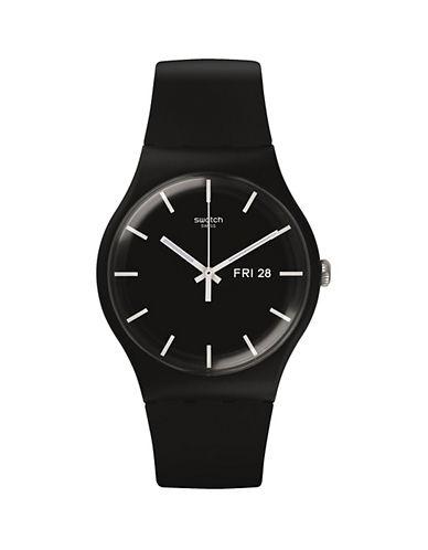 Swatch Analog Mono Silicone Strap Watch-BLACK-One Size
