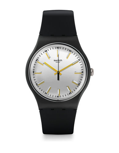 Swatch Metallix Passe Partout Silicone Watch-BLACK-One Size