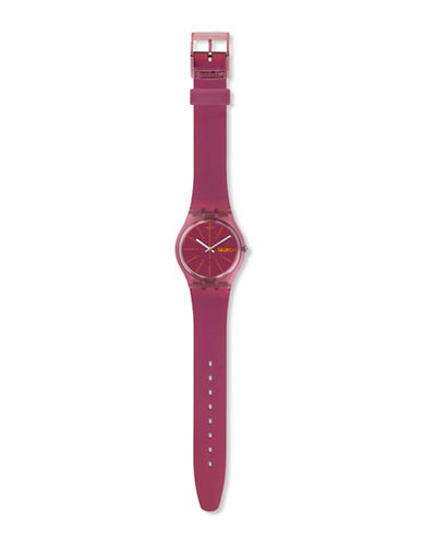 Swatch Analog Archi-Mix Sneaky Peaky Silicone Watch-PINK-One Size