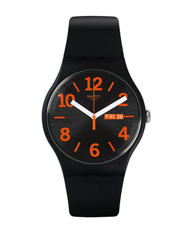 Swatch A Travelers Dream Collection Silicone Analog Watch-BLACK-One Size