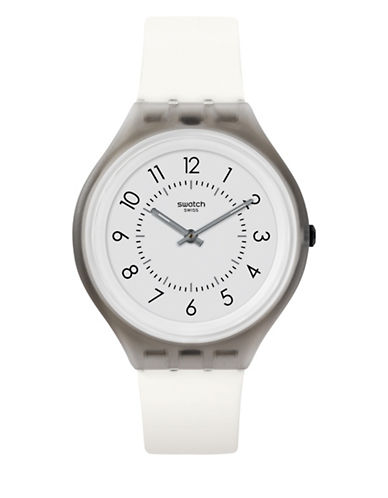 Swatch Unisex Silicone Strap Analog Numeral Watch-WHITE-One Size