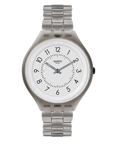 Swatch Unisex Stainless Steel Bracelet Analog Watch-SILVER-One Size