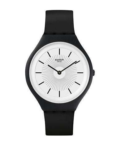 Swatch Unisex Silicone Strap Analog Index Watch-BLACK-One Size