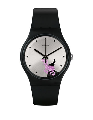 Swatch Analog Pinkosaure Silicone Strap Watch-BLACK-One Size