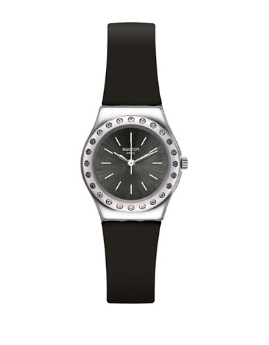 Swatch Analog Cama Stainless Steel Silicone Strap Watch-BLACK-One Size