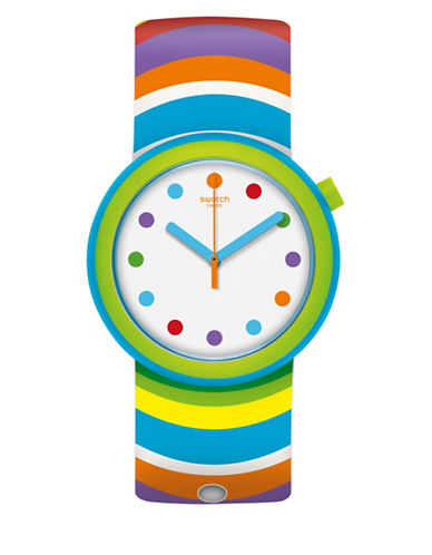 Swatch Analog Popadelic Silicone Strap Watch-MULTI-One Size