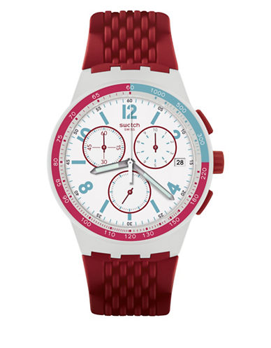 Swatch Chronograph Track Silicone Strap Watch-RED-One Size