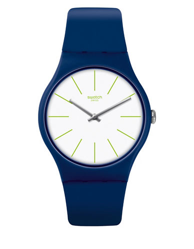 Swatch Analog Bluesounds Silicone Strap Watch-BLUE-One Size