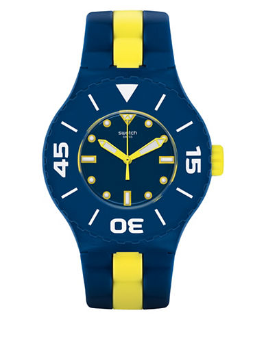 Swatch Analog Long Waves Silicone Strap Watch-MULTI-One Size