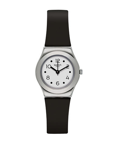 Swatch Analog IP Silicone Strap Watch-BLACK-One Size