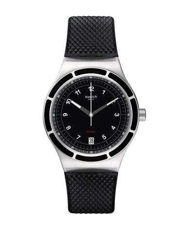 Swatch Analog Sistem Dark Silicone Strap Watch-BLACK-One Size