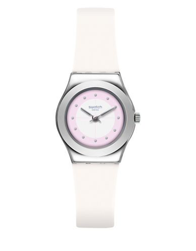 Swatch Analog Lady Stainless Steel Silicone Strap Watch-WHITE-One Size