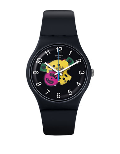 Swatch Colour Studio Collection Black Silicone Strap Watch-MULTI-One Size
