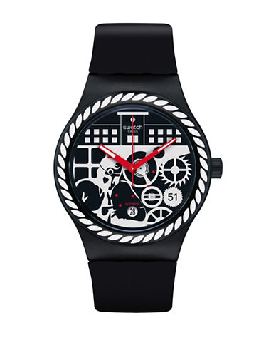Swatch Analog Schwiiz Silicone Strap Watch-BLACK-One Size
