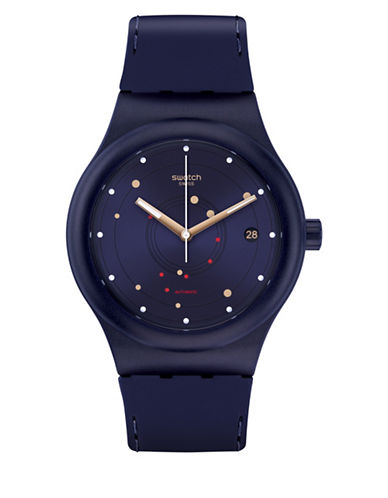 Swatch Analog Sistem Sea Silicone Strap Watch-BLUE-One Size