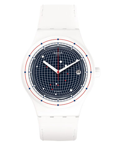 Swatch Analog Sistem Planet Silicone Strap Watch-WHITE-One Size
