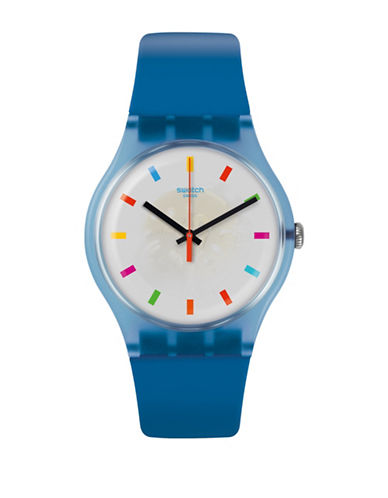 Swatch Colour Studio Collection Blue Silicone Strap Watch-BLUE-One Size