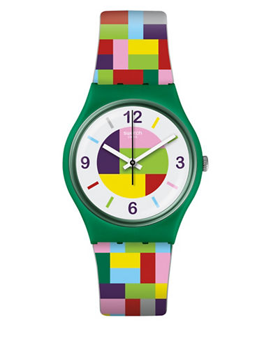 Swatch Colour Studio Collection Expandable Multi-Coloured Silicone Stainless Steel Bracelet Watch-GREEN-One Size