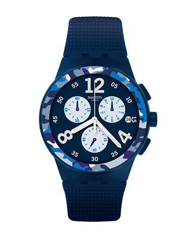 Swatch Colour Studio Collection Camoblu Navy Silicone Strap Watch-BLUE-One Size