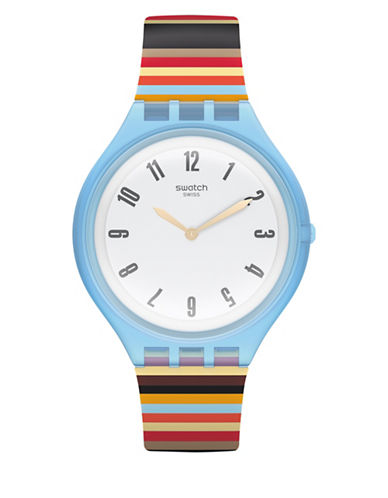 Swatch Skin Collection Skinstripes Plastic Multi-Coloured Silicone Strap Watch-MULTI-One Size