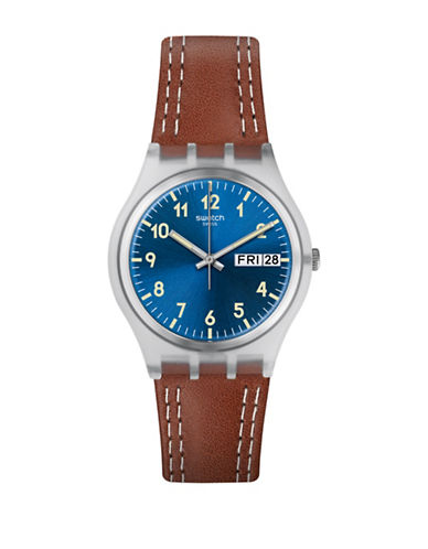 Swatch Time to Swatch Collection Windy Dune Plastic Leather Strap Watch-BROWN-One Size
