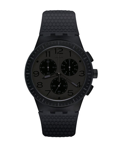 Swatch Time to Swatch Collection Piege Plastic Silicone Strap Watch-BLACK-One Size