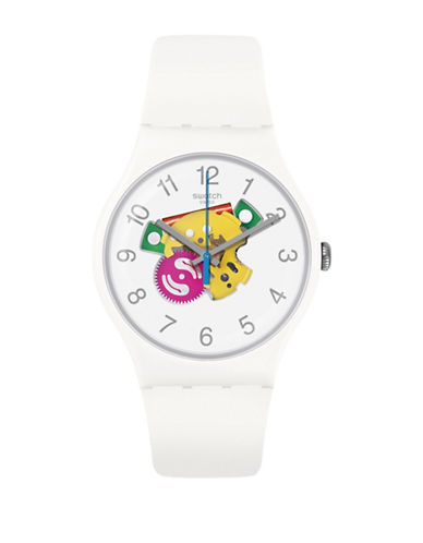 Swatch Colour Studio Collection White Silicone Strap Watch-MULTI-One Size