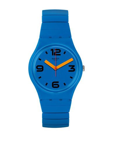 Swatch Colour Studio Collection Expandable Blue Silicone Stainless Steel Bracelet Watch-BLUE-One Size