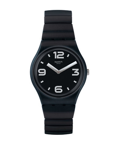Swatch Colour Studio Collection Expandable Ebony Silicone Stainless Steel Bracelet Watch-BLACK-One Size