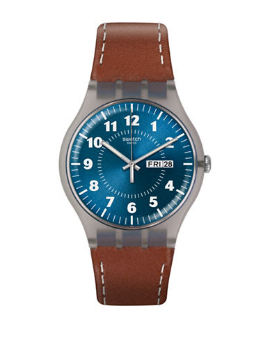Swatch Vent Brulant Analog Strap Watch-BROWN-One Size