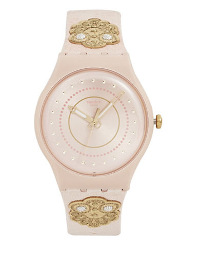 Swatch Embroidery Pink Leather Strap Watch 89633884