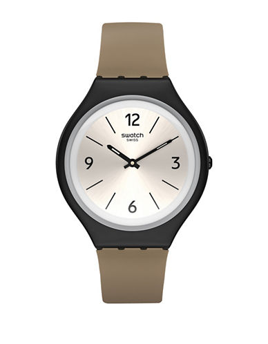 Swatch Skin Collection Skinsand Stainless Steel Faux Leather Strap Watch-BROWN-One Size