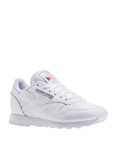 Reebok Womens Classic Leather Sneakers-WHITE-5.5