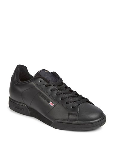 Reebok Embroidered Leather Sneakers-BLACK-7 85003400_BLACK_7
