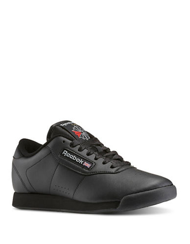 Reebok Womens Princess Leather Sneakers-BLACK-7.5 88104910_BLACK_7.5