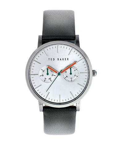 Ted Baker London Mens Multifunction Leather Strap Watch 10009291-GREY-One Size