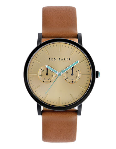 Ted Baker London Mens Multifunction Leather Strap Watch 10009249-BROWN-One Size