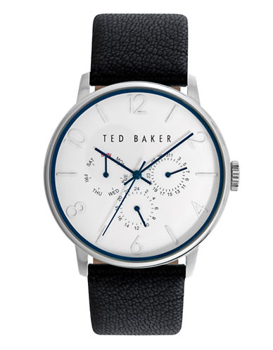 Ted Baker London Mens Multifunction Leather Strap Watch 10023491-BLACK-One Size