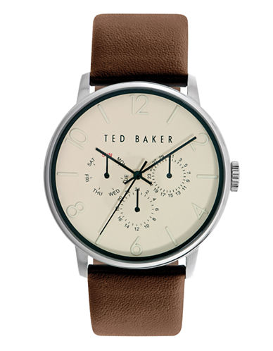 Ted Baker London Mens Multifunction Leather Strap Watch 10023493-BROWN-One Size