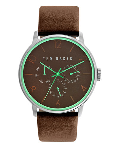 Ted Baker London Mens Multifunction Leather Strap Watch 10023496-BROWN-One Size