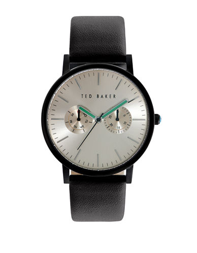 Ted Baker London Mens Multifunction Leather Strap Watch 10024529-BLACK-One Size